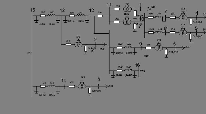 Схема замещения электрической сети 220 кв