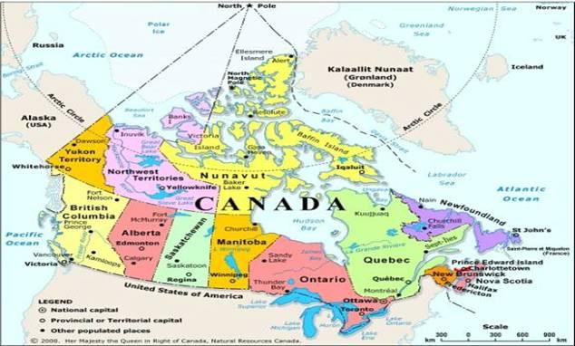 обременений Состояние карта канады с городами на руканады красивая,оригинальная